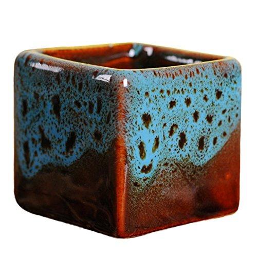 Outflower Petit pot de fleurs carré en céramique Style chinois 5,4 x 5,1 cm 5.4*5.1cm bleu