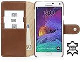 StilGut Talis mit Druckknopf, Hülle aus Leder mit Kreditkartenfach für Samsung Galaxy Note 4, Cognac