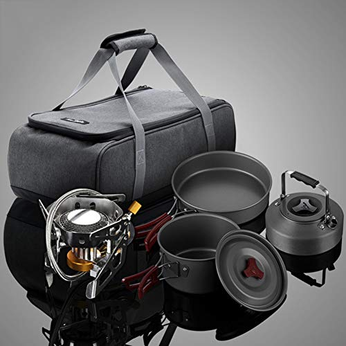 WNTHBJ Outdoor wildfire split gas kachel, campingset voor 2-3 personen, picknick draagbare fornuis fornuis, fornuis top pot, ketel