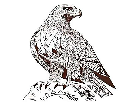 Y·JIANG Pintura de águila por números, diseño de pájaro de presa, estilo bohemio, lienzo acrílico al óleo por números, para adultos y niños, decoración de pared del hogar, 50 x 50 cm