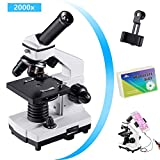 Monocular Microscope for Students and Kids, 200-2000x Magnification Powerful Biological Educational Microscope