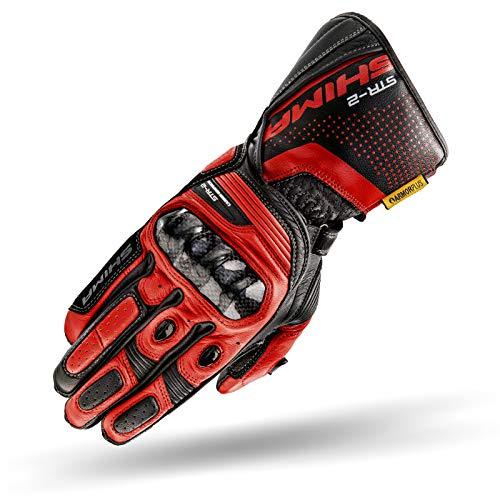 SHIMA STR-2, Motorrad Handschuhe Touchscreen Sommer Leder Sport Carbon Touchscreen Herren Motorradhandschuhe mit Protektoren, Schwarz/Rot, Größe M