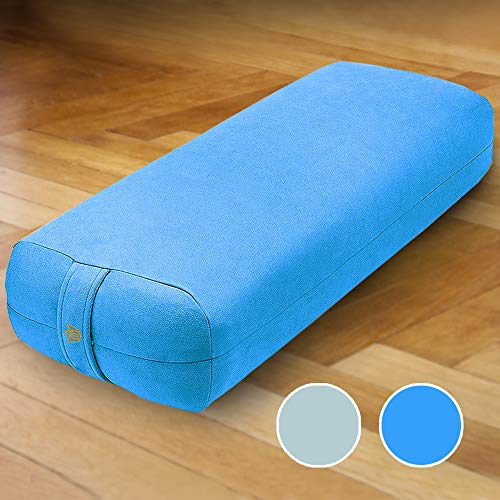"Florensi Yoga Bolster (26""x11""x7""), Premium Velvet Bolster Pillow, Large Rectangle Yoga Bolsters and Cushions, Bolster Pillow Yoga, Yoga Bolster Pillow, Bolster Yoga Pillow - Blue"