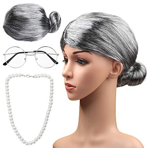 Haichen Old Lady Costume Grandmother Cosplay Accessories Set - Granny Wig Grey Wig Costume Glasses Collar de Perlas Artificiales Accesorios de Disfraces (Gris1)