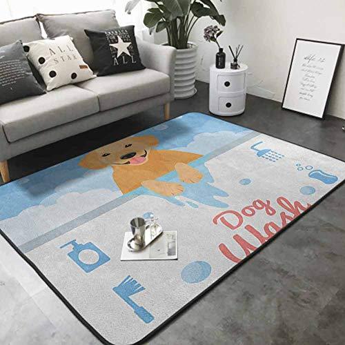 "Floor mats for Kids Dog Washing in Bathtub Cartoon Foam and Soap Hygiene 80""x 120"" Best Floor mats"