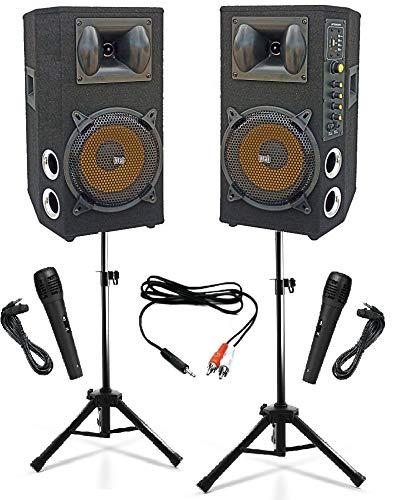 IMPIANTO AUDIO KARAOKE pronto all uso 2 CASSE AMPLIFICATE BLUETOOTH 600W 8  + 2 MICROFONI CON FILO + CAVO PC + 2 STATIVI (alzata ridotta)