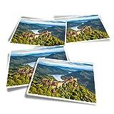 Pegatinas rectangulares de vinilo (juego de 4) – Aggstein Castle Danubio Austria divertidos adhesivos para ordenadores portátiles, tabletas, equipaje, reserva de chatarra, frigoríficos #21119