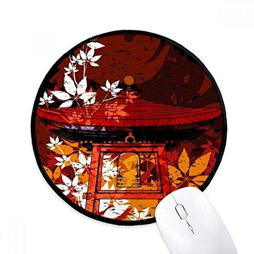 DIYthinker Japan Japanische Art-Blätter Pavilion Runde Griffige Mousepads Schwarz Titched Kanten Spiel Büro-Geschenk
