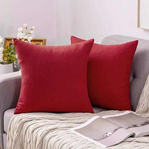 MIULEE Funda Cojines Fundas de Almohadas Lino de Imitación de Color Puro Duradero Decorativo para Sofá Cama Silla Habitacion Oficina Sofa Salón Dormitorio Lumbar 40x40cm 2 Piezas Rojo