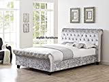 Luxury Chesterfield Sleigh Bed Grey Crushed Velvet Fabric Bed Double 4Ft6 By Stylish Furniture