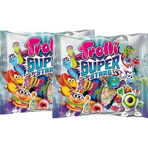 Trolli Super Stars Gummies Pack of 2 - Planet Glotzer Mini Burger worms etc Fruit Gum