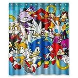 ZHANGSHUQI Sonic The Hedgehog Shower Curtain Bathroom Shower Curtain Durable Fabric Accessories Creative with 12 Hooks 180X180CM