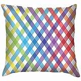 Zjipeung Gingham Rainbow - Funda de almohada decorativa para sofá, 50,8 x 50,8 cm