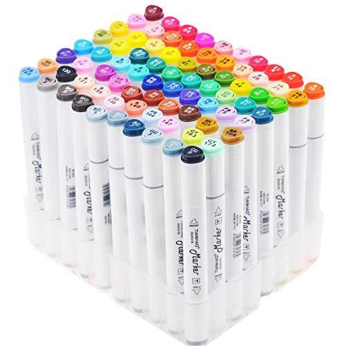 TIANHAO Marker pen, 80 Colores Arte Marker Pen Set Dibujo Marcadores, Resaltador de Punta Doble Rotuladores Manga Graffiti Pen para Dibujar Bocetos