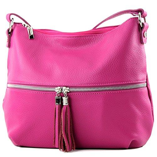 modamoda de - T159 - ital Umhängetasche Schultertasche aus Leder, Farbe:Pink