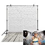 Allenjoy 5x7ft Soft Fabric White Brick Wall with Gray Wood Floor Photography Backdrop Newborn Baby Photoshoot Props Child 1st Birthday Cake Smash Photo Background