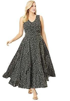Jessica London Women's Plus Size Flyaway Maxi Dress - 20 W, Black Abstract