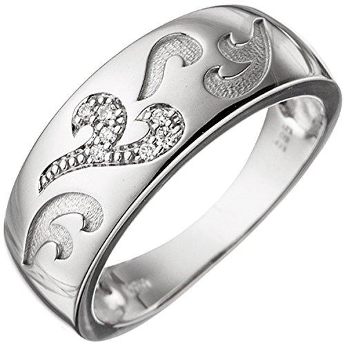 JOBO Damen-Ring aus 585 Weißgold mit 7 Diamanten Größe 54