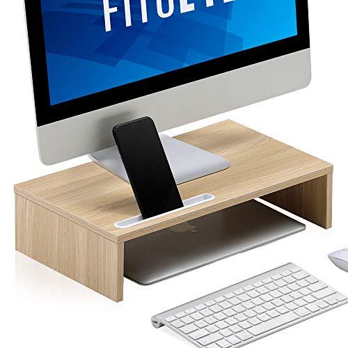 FITUEYES Monitor soporte elevador madera PC ordenador portátil pantalla elevador para oficina hogar 42.5x 23,6x11,2cm roble DT104301WO