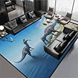 """Jurassic Kids Area Rug Home Decorate Floor Kids Playing Mat Large Fish is Caught by a Suchomimus Dinosaur Flying Pterosaur Dinosaur Blue Beige Green Grey Rug 78"""" by 60"""""""