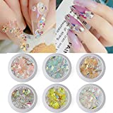 DYJKOUG 3D Colorful Flower Butterfly Nail Crystal Mix Metal Rivets Pearls Holographic Rhinestones DIY Nails Art Decorations(6 Boxes)
