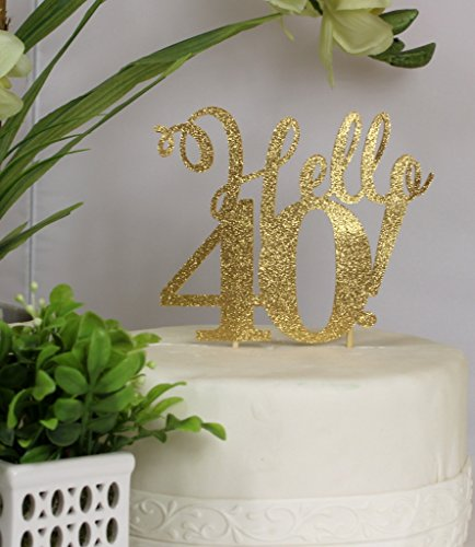 All About Details Gold Hello 40 Cake Topper, 6 x 9