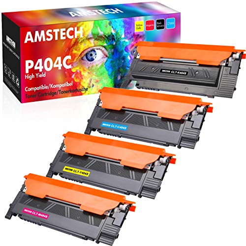Amstech Kompatibel für Samsung CLT-K404S CLT P404C CLT-P404C für Toner Samsung Xpress C480W C480FW Samsung C430W C480 C430 SL-C480FW SL-C480W CLT-Y404S CLT-C404S CLT-M404S, Schwarz/Cyan/Magenta/Gelb
