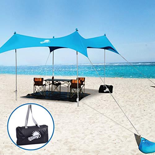 WINNINGO Premium Beach Sunshade, Upgraded Large Sun Shade Canopy 10' x 9', Beach Tent with 4 Aluminum Poles, 4 Pole Anchors, Waterproof Carry Bag & Bonus Tarp Mat, UPF50 UV Protection (Sky Blue)