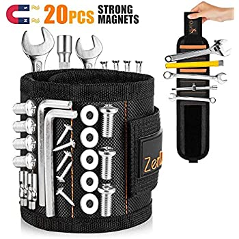 Magnetic Wristband, [Upgraded] Tool Belts with 20 Strong Magnets and 2 Pockets for Holding Screws, Nails, Drill Bits, Best Special Gift for Men, DIY Handyman, Father/Dad, Husband, Boyfriend, Women