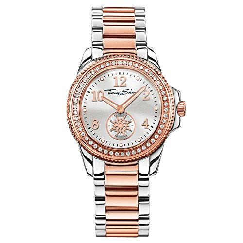 Thomas Sabo Damen Analog Quarz Uhr mit Edelstahl Armband WA0236-272-201-33mm