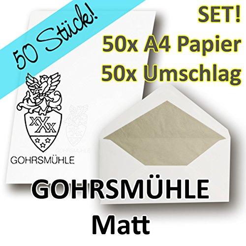 50 SETS - ZANDERS GOHRSMÜHLE Papier, Weiß Matt DIN A4 + Umschläge DIN Lang gefüttert - für hochwertige Dokumente