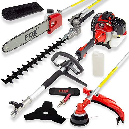 Fox Commander 43cc Petrol Garden Multi Tool 4in1 Grass Trimmer, Brush Cutter, Hedge Cutter, Chainsaw