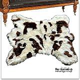 Fur Accents ベアスキンラグ ラグジュアリーで柔らかく厚いフェイクファー ブラウン スポットシープスキンシャグ デザイナーラグ USA 5'x6' 5x6BSNB