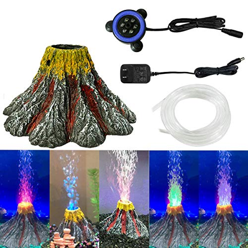 MingDak Aquarium Volcano Ornament Kit, Air Stone Bubbler with Red LED Light, Aquarium Air Bubbler Decorations for Fish Tank (Multi-Color)