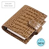 LASISZ Genuine Leather Rings Notebook A7 Size Silver Binder Mini Agenda Organizer Cowhide Diary Journal Sketchbook Planner Big Pocket,Croc Yellow Brown,A7 Cover 142X115Mm