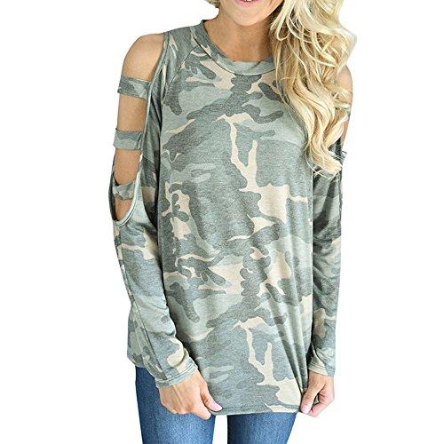 VJGOAL Camuflaje de la Manera Casual de Las Mujeres parcialmente Ahuecado del Hombro Camisas de la Manga Larga Floja de la Blusa del Hombro Sweatshirt Pullover