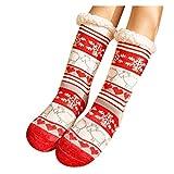 Calcetines navideños para Navidad, Papá Noel, muy cálidos, de forro polar, para la cama, suelo, largos, informales, estampados, de algodón, 4 pares, B