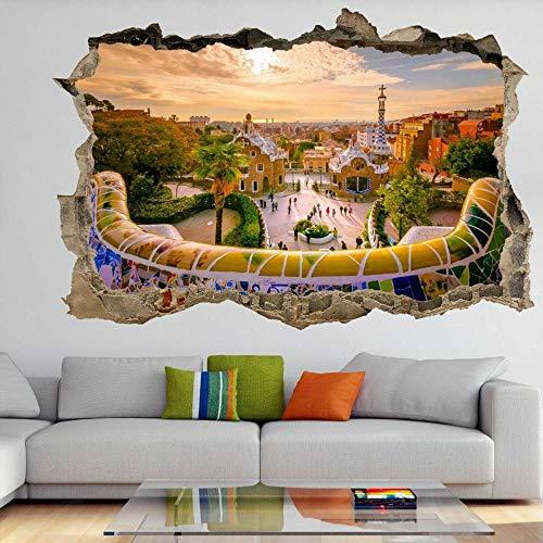 Famoso Park Guell Barcelona 3D Wall Art Sticker Mural Decal Poster- HABITACIÓN Dormitorio Cocina-50x70cm