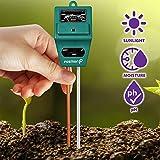 Fosmon 簡易型土壌分析測定器 多機能テスター 土壌酸度計 照度計 水分計 電池不要【ph値 / 土壌水分 / 日射量測定 3-in-1】屋内、屋外植栽、ガーデニングに最適