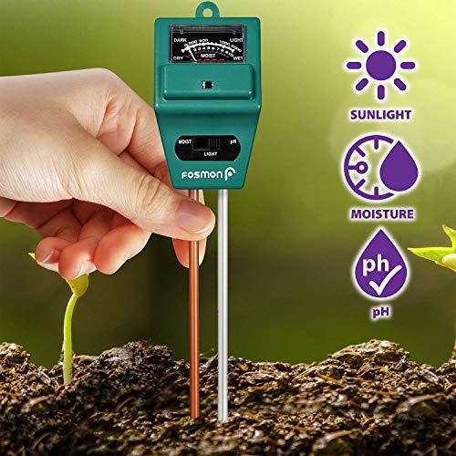 Fosmon Soil pH Tester - 3 in 1 Measure Soil pH Level, Moisture Content, Light Amount Soil Test Kit for Indoor Outdoor Plants, Flowers, Vegetable Gardens and Lawns