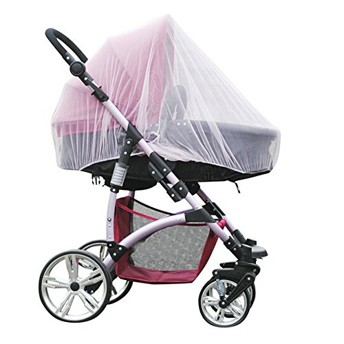 Baby Stroller Mosquito Bug Net Insect Netting Cover 59' Large Size for Pram, Buggy, Infant Carriers, Car Seats, Cradles, Cribs, Bassinets, Playpens, Baby Stroller Bed Full Mesh Cover (White)