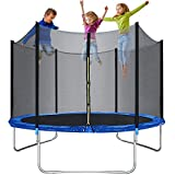 Trampoline for kids or Adults 10ft Trampolines with Safety Enclosure Net Spring Pad Outdoor Round Combo Bounce...