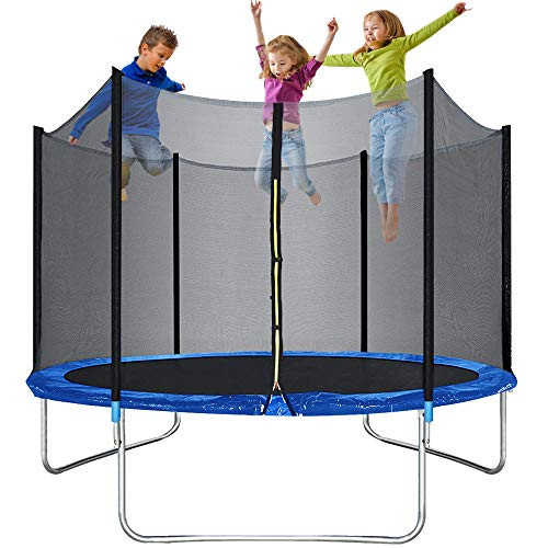Trampoline for kids or Adults 10ft Trampolines with Safety Enclosure Net Spring Pad Outdoor Round Combo Bounce Jump Trampoline Fitness Equipment, Including All Accessories, 330LBS Jumping Capacity