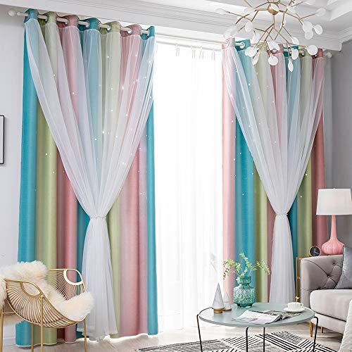 Cortinas opacas de 2 capas de color degradado con superposición de gasa, poliéster, gruesas, aislantes térmicos, para sala de estar o recámara (52 W x 84 L, rosa)