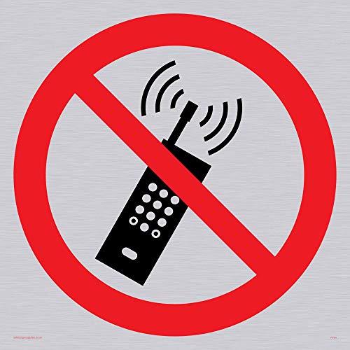 Viking signos pv54-s40-sv teléfono móvil prohibido símbolo Sign Vinilo, Plata, 400mm H x 400mm W
