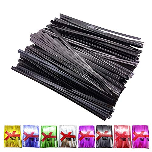 H-Laner Bread Bags Tie 400Pcs 4' Metallic Twist Ties (Black)