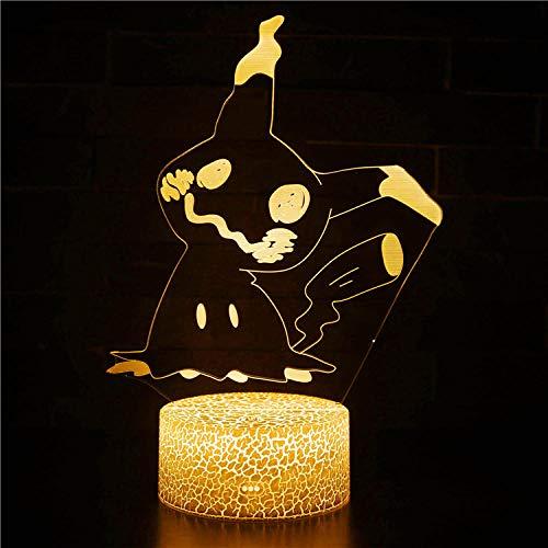 Lámpara de noche de ilusión 3D 3D lámpara de ilusión óptica Pikachu 16 colores cambiantes automático interruptor táctil decoración escritorio Lámparas regalo de cumpleaños con control remoto