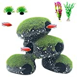Tfwadmx Resin Cichlids Rock Decor Stone Aquarium Hideaway Decoration with Artificial Moss Betta Cave Hideout Shelter Fish Tank Tunnel Ornament for Shrimp,Short Bream and Crayfish(L)