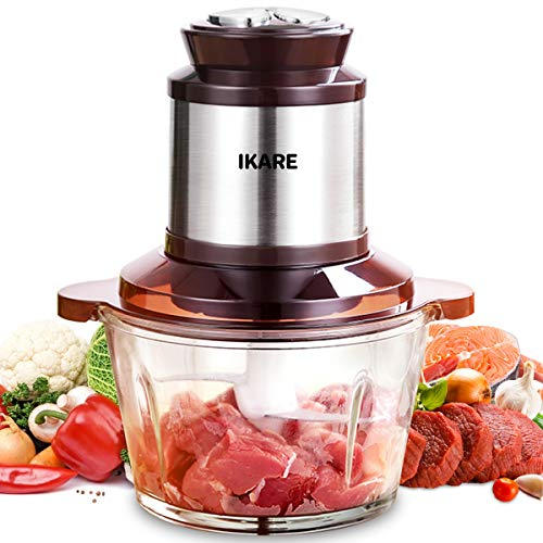 Electric Food Chopper 8-cup Food Processor, Meat processor, High Capacity 2L BPA-Free Glass Bowl Grinder for Meat, Vegetables, Fruits and Nuts, Stainless Steel Motor Unit, 3 Speeds, 4 Sharp Blades, 300w