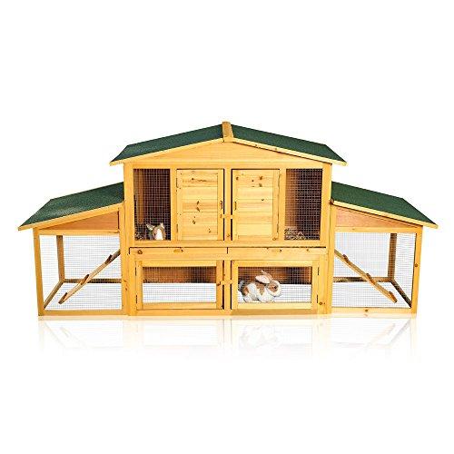 Melko XXL Hasenstall für Draußen, Winterfest, mit Freilauf, 215 x 73 x 100 cm groß, aus Holz mit Schubladen zur einfachen Reinigung